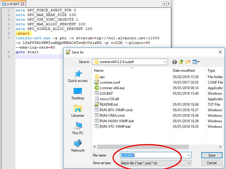 Gambar 6. Save-as config dengan extensi file .bat