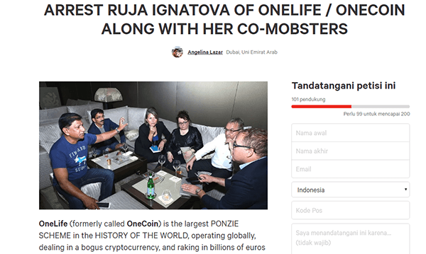petisi onecoin onelife